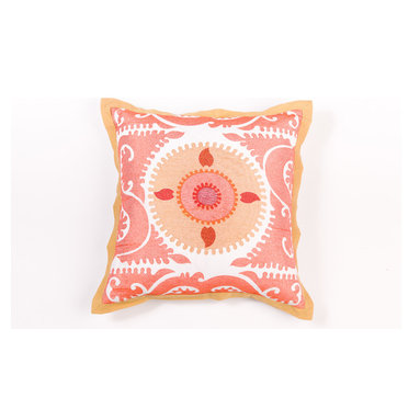 "Pillows - This beautiful 20""x20"" pillow has the chic suzani pattern.The coordinating flange adds to the perfect detail."