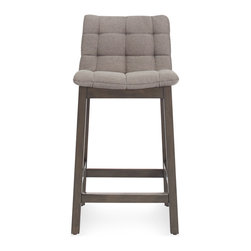 Blu Dot - Blu Dot Wicket Counterstool, Pewter - Wicket good. A tufted cushion is cradled by a solid wood frame to create a pillow like seating experience. As attractive from the back as it is from the front, a notched cutout at the top of the stool makes moving it around a cinch. Available in side chair, lounge chair, barstool & counterstool.Iron, Sand: 50% Polyester / 43% Cotton / 7% Linen blend upholstery, Pewter, Purple: 100% Polyester upholstery , High density foam cushion , Solid ash with smoke stain
