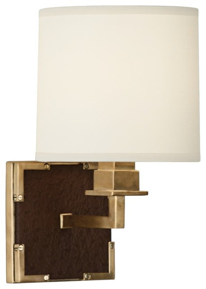 Contemporary Wall Sconces Contemporary Robert Abbey Cinnamon Faux Ostrich Leather Wall Sconce