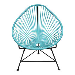 Inova Team -Modern Powder-Coated Blue Chair - This chair has got it all: lines, texture, and color. Add this cool blue chair in your sitting room and pair it with an exotic throw pillow for a eclectic accent piece. It's also great for outdoor use and may become your favorite chair to relax in and enjoy those breezy summer nights