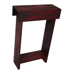 Red Distressed Skinny Wall Table - This piece of furniture will brighten up your day and any space that needs some life. Use as an entry way table, media table, bedside table and more. The dimensions measure 24L x 9W x 36H and has a beautiful distressed red finish with ebony glaze. Very sturdy. You will love this piece!