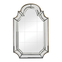 """Sterling Industries - Tiled Face Mirror with Bevelled and Curved Edging - 46"""" tall and with a tiled mirror face the outline and curves of this heavy mirror are rooted in tradition, the lines and angles and accent finish are clean making it versatile/Suited to grounding a wide range of spaces."""