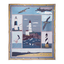 Patch Quilts - Lighthouse By Bay Quilt Lux Ury King 120 x 106 - - Intricately appliqued and beautifully hand quilted.Bedding ensemble from Patch Magic  - The Name for the finest quality quilts and accessories  - Machine washable.Line or Flat dry only Patch Quilts - QLKLBBY