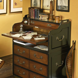 Authentic Models Grand Hotel Collection - Don't be fooled by its elegant appearance. This desk holds some serious surprises and secrets. Two stacked units offer campaign style compact storage. No wasted space here. Create a workspace in close quarters by sliding out the desktop. Your knees will thank you. At the same time you access a secret document box in the back. Big enough to store personals, stacks of banknotes and your first love letters. Check out the lustrous French finish and the intricate joinery. Seductive while still utterly composed.