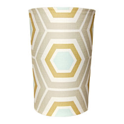 """Square Feathers - Coolbreeze Hex Wastebasket - The Coolbreeze Hex wastebasket exudes a sense of contemporary cool. This unique trash can makes an eye-catching statement with an oversize geometric print. 9""""Dia (top) x 8""""Dia (bottom) x 14""""H; White plastic receptacle; Slip covered in fabric; Tan, golden brown, aqua blue and white"""