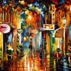 Leonid Afremov - Old City Street Palette Knife Oil Painting On Canvas By Leonid Afremov - Oil painting on canvas