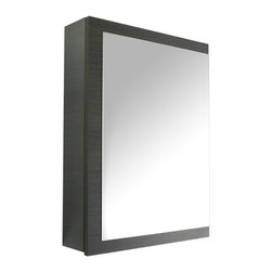 Iotti - Gray Oak Medicine Cabinet With Mirrored Door - This medicine cabinet is perfect for your modern-style bathroom and vanity.