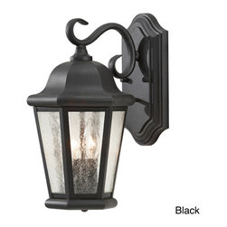 None - Martinsville 2-light Outdoor Wall Lantern - A swirling design and your choice of either a rich black or smooth Corinthian bronze makes this outdoor wall lantern the perfect accent to your home or office. Trendy clear seeded glass completes the look of this timeless fixture.