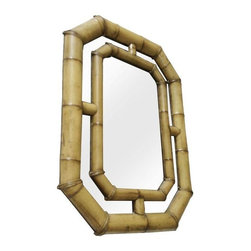 Vintage McGuire Bamboo Mirror - Take a look at this thick bamboo McGuire mirror in a natural finish. In a rare size, this piece was originally purchased from an SF estate. Circa 1960's. Excellent condition.