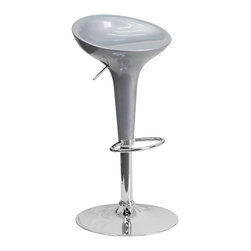 Flash Furniture - Flash Furniture Barstools Plastic Residential Barstools X-GG-LIS-301-3CT-HC - This Retro stool is shaped for comfort and style. The seat is joined with chrome finish base and round footrest. This attractive stool will accent your kitchen, dining, or bar area. The dual purpose design performs as a counter height stool or a bar height stool. The height adjustable swivel seat adjusts from counter to bar height with the handle located below the seat. [CH-TC3-103-SIL-GG]