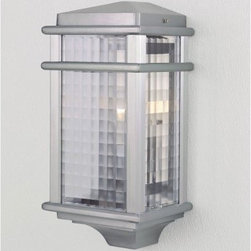 Murray Feiss Monterey Coast Outdoor Half Wall Mount Lantern -15H in. Brushed Alu - The Murray Feiss Monterey Coast Outdoor Half Wall-Mount Lantern features a brushed aluminum finish and clear checked-glass shades. For ample outdoor lighting use one 100-watt E bulb (not included). Clean the fixture with a damp cloth and mild soapy water and the shades with household glass cleaner. This light measures 7W x 15H x 5.75Ext inches.About Murray Feiss LightingThree generations have built Murray Feiss as a renowned name in lighting and it now stands as a leader with a reputation for impeccable craftsmanship innovative design and honest value. Murray Feiss prides itself as the foremost designer and manufacturer of interior and exterior lighting and home decor in the lighting industry. Over 3 800 skilled artists and technicians bring Murray Feiss designs to life meticulously finishing and quality-testing each exclusive product. Murray Feiss Lighting has expanded its extensive copyrighted line of products to include grand chandeliers casual fixtures vanity bath lights with coordinated bath hardware outdoor lighting lamps torchieres wall brackets mirrors and decorative accessories. Whether outdoor or in lighting from Murray Feiss means high quality and innovation.