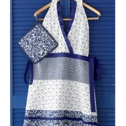 TAG Indigo Apron and Pot Holder Set - About TagFounded by NYU graduate and current owner Norman Glassberg in 1975, Tag is a leader in textiles, gifts, and furnishings, and manufactures their products in nine different countries. With a huge variety of products available to enhance the beauty and comfort of your home, Tag focuses their attention on the idea of a central look with all of their pieces - you can tell a Tag furnishing by its distinctive, clean-lined style that's unlike anything else. Today, Tag's main goal (aside from maintaining their unique aesthetic) is to bring you high quality, affordable products you'll be proud to use and display.