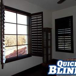 "Plantation Shutters | Aledo Texas - 4.5"" Louvers - 2"" Deco Frame - Outside Mount"