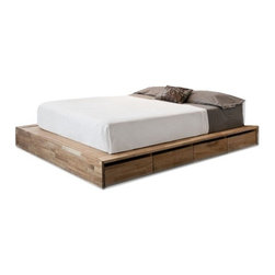 Mash Studios - Mash Studios   LAXseries Storage Platform Bed - The definitive LAXseries Storage Platform Bed is the perfect marriage of form and function with 8 roomy, rolling drawers beneath the low laying, beautifully finished solid wood platform to help you cut back clutter in the bedroom and achieve a true minimalist aesthetic. The LAXseries promotes calm and reductive living with pieces that incorporate subtly into spaces, without distracting or overwhelming. Understated, yet refined, with no extraneous parts or superfluous additions.  Expertly crafted from solid English walnut with a natural oil finish. Available in Queen size. Pair with wall mounted storage headboard for even more space saving opportunities.