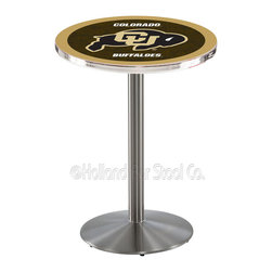 Holland Bar Stool - Holland Bar Stool L214 - Stainless Steel Colorado Pub Table - L214 - Stainless Steel Colorado Pub Table belongs to College Collection by Holland Bar Stool Made for the ultimate sports fan, impress your buddies with this knockout from Holland Bar Stool. This L214 Colorado table with round base provides a commercial quality piece to for your Man Cave. You can't find a higher quality logo table on the market. The plating grade steel used to build the frame ensures it will withstand the abuse of the rowdiest of friends for years to come. The structure is 304 Stainless to ensure a rich, sleek, long lasting finish. If you're finishing your bar or game room, do it right with a table from Holland Bar Stool. Pub Table (1)