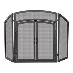 UniFlame - 3-Fold Black Wrought Iron Arch Top with Doors - Series: Black Wrought Iron