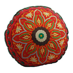 Red Starburst Round Floor Pillow - The best seat in the house may be at ground level. This beautifully hand-embroidered, crewelwork floor pillow makes a comfy lounging alternative in your living room, family room or kid's room.