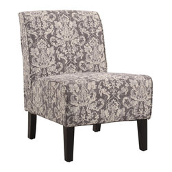 Linon Home Decor - Linon Home Decor Accent Chair X-U-DK-10-MADG69063 - Classic design meets modern appeal in this superbly comfortable upholstered chair.  Substantial, durable padding and a sturdy hardwood frame makes for long lasting utilization. The mix of fabric, button tufting and clean lines adds an air of sophistication and elegance to virtually any home d&#233:cor.  A functional and artistic addition to your living room, bedroom, or den.  The dark black finish frame is complimented by the stunning gray damask fabric.
