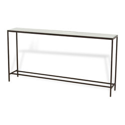 Kathy Kuo Home - Howard Industrial Loft Mirrored Long Sofa Console Table - If brevity is the soul of elegance, this slim, minimalist console table proves it.  Topped with a mirrored surface and supported by a sleek, precision welded base, this piece Perfectly balances style and function.