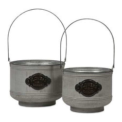 Peterson Galvanized Planters - Set of 2 - This set of two charming planters, made of galvanized metal with handles, is perfect for holding a kitchen herb garden, fruits, natural fillers or, of course, your favorite plants!