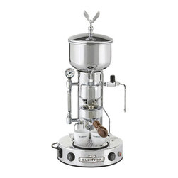 """Elektra - Elektra Semi Automatica Chrome Espresso & Cappuccino Machine - Chrome finish Heat exchanger system with proper temperature to extract the most flavor from coffee bean. Pump-operated to deliver water to group head and to refill boiler. Twist knob-controlled steam valve for quick turn on and offs Three-way solenoid valve to relieve pressure in group head when finished extracting espresso. Water level sight glass with pressure gauge. Manual water refill switch for boiler. Boiler pressure relief valve for safety. Durable brass boiler that provides very dry steam for frothing milk. Top loading water basin for easy refill and for continuous water delivery so machine does not have to be shut down like hand lever models Bakelite handle on portalfilter Large round base (10"""" diameter). Dimensions: 23"""" H x 10"""" w x 10"""" D. Height includes the Eagle 800 Watt, 110 Volts, 60 Hz. Limited two-years warranty. . Made in Italy.. Note: The steam wand is Ships assembled to prevent damage when Ships. A crescent wrench is needed to place it back.  A brand new machine, upon receiving, may not heat. The reason is that if the user does not immediately engage the boiler water refill button upon startup to move water from the top basin to the lower boiler, the safety thermostat will shut off power to the heating element. If you purchased from us, please email us for reset instructions."""