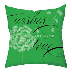 Checkerboard Lifestyle - Wishes in Green Throw Pillow - PIL-FNM-Y - Shop for Pillows from Hayneedle.com! With its fresh modern look and sweet message the Wishes in Green Throw Pillow adds a pop of color to your sofa or bed. This soft polyester pillow has a green front with dandelion and wishes message that reverses to a stylized tree design in contrasting white with green.