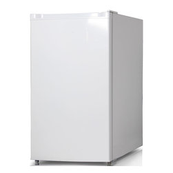 Keystone - 4.4 Cu. Ft. Refrigerator With Freezer Compartment - The Keystone KSTRC44CW Energy Star 4.4 Cu. Ft. Compact Single-Door Refrigerator, in white, is perfect for dorm rooms, rec rooms, small offices or anywhere space is limited. It has a freezer compartment, manual defrost, mechanical temperature control and three removable wire shelves. The refrigerator door has storage for canned beverages and a 2-liter bottle plus two small-item racks perfect for storing single-serve yogurt. Plus, the reversible door and adjustable legs will make sure it fits perfectly just where you need it.Energy Star 4.4 cu. Ft. Compact single-door refrigerator