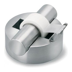 Blomus - AKTO Stainless Steel Tape Dispenser - The Blomus AKTO Tape Dispenser provides even dispensing of tape in a design that adds an element of sophistication to desktops. The AKTO Tape Dispenser, designed by J.R. Schebendach, features durable stainless steel. Blomus, headquartered in Germany, specializes in the design and manufacture of beautifully engineered home and office accessories in modern stainless steel styles.
