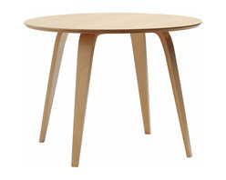 """Cherner - Cherner Round Table - The Cherner Round Table, made from molded plywood in the USA, was designed to complement Cherner chairs. Lightweight and strong, the Cherner Round Table's top is 1.125"""" thick. Table is 29.5"""" H x 40-48"""" in diameter."""