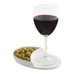 J-Me - Nibble Coaster - Keep your drink close and your snacks even closer. This smartly designed coaster allows a guest to fill up their glass, load up on nosh and take a seat, loving the fact their snack stash will keep them wonderfully satiated.