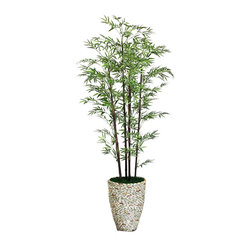 "Laura Ashley - Laura Ashley 86"" Tall Black Bamboo Tree in 16"" Fiberstone Planter - The Laura Ashley Brand is known for harmonizing tranquil colors and classic shapes allowing you to bring the calm feel of Zen to your home or office décor. Our bamboo tree features thousands of airy bamboo leaves on natural stocks. Bamboo is a natural"
