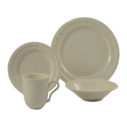 CAC China - ColorUs China WE 16SET Mettie Round Stoneware Creamy White 32 Pieces Set - Dinnerware set includes eight 10.5 Inch dinner plates/eight 7.75 Inch salad plates/eight 16 Oz. bowls and eight 12 Oz. mugs