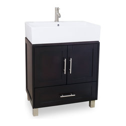 Hardware Resources - York Vessel Jeffrey Alexander Vanity 28 x 18-1/4 x 36 - This 28 inch solid wood vanity has an oversized vessel bowl/top and shaker cabinet to give an urban feel. The rich espresso finish and satin nickel hardware complete the look. A large cabinet and bottom drawer provide ample storage. The vessel bowl/top is cut for a single hole faucet.  Overall Measurements: 28 x 18 1/4 x 36 (measurements taken from the widest point) Finish: Espresso Material: Wood Style: Transitional Coordinating Mirror(s): MIR077 Bowl: 6 Intergraded Porcelain Top/Bowl Coordinating Hardware: 156SN