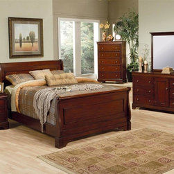 Coaster - Versailles 5-Pc Sleigh Bedroom Set (Queen) - Choose Bed Size: QueenIncludes sleigh bed, chest, dresser with mirror and nightstand. Traditional style. Bed with soft curves and a shapely design. Requires boxspring and foundation. Chest with five drawers. Top lifts to reveal a felt top jewelry area and convenient mirror. Dresser with six drawers. Center door provides more enclosed storage. Nightstand with three drawers. Pull out shelf for bed time beverages. Dovetail construction. Sturdy wood on wood center drawer glides. Smooth edges and classic molding. Carved bracket feet. Burnished hardware knobs. Vertical mirror. Classic molding and pretty crown. 3 in. frame thickness. Made from wood veneers and solids. Deep mahogany stain finish. Queen bed: 91 in. L x 66 in. W x 51.5 in. H. Eastern king bed: 96.88 in. L x 77 in. W x 51 in. H. California king bed: 91.75 in. L x 76 in. W x 51.25 in. H. Chest: 35 in. W x 19 in. D x 52 in. H. Dresser: 67 in. W x 19 in. D x 36 in. H. Mirror: 45 in. W x 38 in. H. Nightstand: 24 in. W x 17 in. D x 28 in. H. WarrantyThe Versailles bedroom group embodies a traditional style that will enhance your bedroom's decor. Create a beautiful bedroom with this sleigh bedroom set.