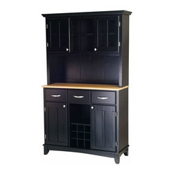Home Styles - Home Styles Large Buffet with Natural Wood Top and 2-Door Hutch in Black - Home Styles - Buffet Tables & Sideboards - 5100004142 - Smartly styled and equally practical for any dining or entertaining area the Home Styles Large Buffet and 2-Door Hutch has every one of your serving needs covered. Beginning with a lengthy hardwood table top ideal for any task this buffet is amply equipped with three spacious pull drawers an open central shelf above a 9-bottle wine rack and two large adjustable shelf compartments with inset-paneled doors. The accompanying hutch presents additional storage capacity with two open shelves and a pair of single shelf cabinets behind plexi-glass panel doors. Stylish brushed nickel handle and knob hardware join an arched apron and taper-cut feet in adding further character while a pure black finish provides a definitive look.