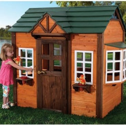 KidKraft My Woodland Playhouse - Give your kids the perfect backdrop for make-believe with the KidKraft My Woodland Playhouse. Darling airy and full of fun features this playhouse is crafted of solid wood and has a non-toxic UV stain for durability. A green plastic roof looks like real wood but offers longer lasting strength and the whole house features reinforced panel construction and EZ bolt hardware for simple assembly. There's a working doorbell and a shelf that supports included flower pots below each front window. Inside the kids will find a counter with sink and knobs and there's an outdoor grill shelf. In addition to the two front windows and side bay window there are three modular sliding windows on the back. The other end of the playhouse features an un-paned window. Measures 69.75 L x 50 W x 62H inches. About KidKraftKidKraft is a leading creator manufacturer and distributor of children's furniture toy gift and room accessory items. KidKraft's headquarters in Dallas Texas serves as the nerve center for the company's design operations and distribution networks. With the company mission emphasizing quality design dependability and competitive pricing KidKraft has consistently experienced double-digit growth. It's a name parents can trust for high-quality safe innovative children's toys and furniture.