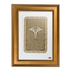 """Vahazz Gold Art & Gifts - Doctors Prayer , Gold Frame - This beautiful translation of Maimonides """"Prayer of the Physician"""", artfully rendered in 24k Gold finish, is the perfect gift for anyone in the medical field. As a gift of appreciation for your doctor, or a present for a medical grad student, these meaningful words will inspire and be admired by doctors and patients alike. This poignant masterpiece will enhance any office, hospital or medical building. The text reads: """"O God above, before I begin my holy work, healing your creations. I beseech you, that you will grant me the strength of spirit and energy to do my work with faith, and that the wish to accumulate wealth will not blind my eyes from seeing anybody who is suffering, who comes for my advice as a human being rich or poor, friend or foe, the good and the evil person, in his sorrowful moment reveal to me only the human being in him. My love for the learning of medicine should only strengthen my spirit, only the truth shall be the light before my feet, for any weakness in my work might bring about death and illness to your creation. I beg you, please strengthen and focus, my body, and my soul and plant within me a spirit that is whole."""" This piece is exclusively designed by Vahaz. Elegantly finished in real 24k Gold or Rose Gold, it will be mounted on your choice of black or white suede matte board. This wall art is professionally framed and will be speedily shipped ready to hang. This prayer speaks for itself. Don't you think every doctor should read this every morning?"""