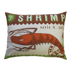 Stamp Pillow, Green Shrimp