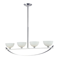 Z-Lite - Z-Lite 4 Light Island Light - With a stunning chrome arch, this four light fixture is a masterpiece of contemporary design. Matte opal shades create a soft modern glow, while the beautiful chrome detailing makes for a bold and cutting edge statement. Adjustable telescoping rods are included to ensure the perfect height for hanging.