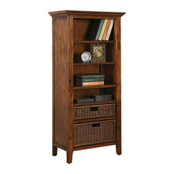 Riverside Furniture - Riverside Furniture Claremont Etagere Bookcase Pier in Toffee - Riverside Furniture - Bookcases - 79548 - Riverside's products are designed and constructed for use in the home and are generally not intended for rental commercial institutional or other applications not considered to be household usage. Riverside uses furniture construction techniques and select materials to provide quality durability and value in their products. The construction of Riversides core product line consists of a combination of cabinetmaker hardwood solids and hand-selected veneers applied over medium density fiberboard (MDF) and particle board. MDF and particle board are used in quality furniture for surfaces that require stability against the varying environmental conditions in modern homes.