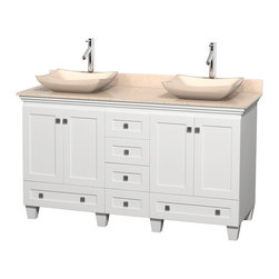 "Wyndham Collection - 60"" Acclaim White Double Vanity w/ Ivory Marble Top & Avalon Ivory Marble Sink - Sublimely linking traditional and modern design aesthetics, and part of the exclusive Wyndham Collection Designer Series by Christopher Grubb, the Acclaim Vanity is at home in almost every bathroom decor. This solid oak vanity blends the simple lines of traditional design with modern elements like beautiful overmount sinks and brushed chrome hardware, resulting in a timeless piece of bathroom furniture. The Acclaim comes with a White Carrera or Ivory marble counter, a choice of sinks, and matching mirrors. Featuring soft close door hinges and drawer glides, you'll never hear a noisy door again! Meticulously finished with brushed chrome hardware, the attention to detail on this beautiful vanity is second to none and is sure to be envy of your friends and neighbors"