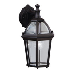 Kichler 1-Light Outdoor Fixture - Black Exterior - One Light Outdoor Fixture Utilizing classic design elements from colonial America, the Trenton collection offers timeless design for today's aesthetic. Our striking black finish helps recreate the look and feel of fixtures formed by blacksmiths hundreds of years ago. Skilled artisans re-create these handcrafted works of art from high quality cast aluminum with clear beveled glass panels to ensure the Trenton will last for years. If you're looking for a memorable fixture, this wall lantern is the perfect way to update your home's profile. Its one light design employs a 100-watt bulb for optimum lighting while the 14 high lantern is UL listed for wet locations.