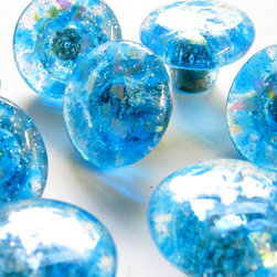 Ocean blue fused glass hardware knob pulls by Torch Lake Glass - Ocean Blue dichroic glass cabinet hardware is made to order by Carol Gilewicz of Torch Lake Glass