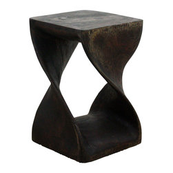 Kammika - Twist Stool Sust Wood 12 x 12 x 18 inch Ht w Eco Friendly Livos Mocha Oil Finish - Our Sustainable Wood Twist Stool 12 inches square by 18 inches high with Eco Friendly, Natural Livos Mocha Oil Finish comprised of translucent Eco Friendly Natural, Food-safe Livos Black Oil over Eco Friendly Natural, Food-safe Livos Chestnut Oil, is hand carved from sustainable wood and completely eco-friendly. The beauty of this design lies in its simplicity. It is bold, yet gentle, rustic yet refined.  One quarter twists support this elegant piece, which can serve as an end table, display stand, or stool for last minute seating. Each is hand carved - no two are alike. Carved from a single piece of sustainable Monkey Pod wood, these Eco Friendly Functional Art pieces are appealing to the viewer from any angle. The eco friendly oils are polished to a matte, highly water resistant and food safe finish. Color ranges from mocha to dark brown to black tones. There is no oily feel and cannot bleed into carpets as it contains natural lacs. Each piece is a unique creation, and as such, is more than a piece of furniture�it is a Work of Art, Functional Sustainable Wood Eco Friendly Art! Made from the thick branches of the quick-growing Acacia tree - where each branch is cut and carved to order (allowing the tree to continue growing). After each Eco Friendly Functional Art piece is carved, kiln dried, sanded, and hand rubbed with Livos eco friendly all natural oil, they are packaged with cartons from recycled cardboard with no plastic or other fillers. As this is a natural product, the color and grain of your piece of sustainable wood functional art with eco friendly finish will be completely unique, and may include small checks or cracks that occur when the wood is dried. Sizes are approximate. Products could have visible marks from tools used, patches from small repairs, knot holes, natural inclusions, and/or worm holes. There may be various separations or cracks on your piece when it arrives. There will be some slight variation in size, color, texture, and finish color.Only listed product included.