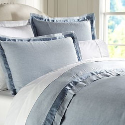 Linen with Silk Trim Duvet Cover, King/Cal. King, Ashley Blue - Made of a refined linen blend with a silky flange, our bedding is equal parts luxurious and casual. Made of a linen/cotton blend. Duvet cover and sham reverse to cotton satin. Duvet cover has interior ties and a button closure; sham has an envelope closure. Duvet cover, sham and insert sold separately. Machine wash. Imported.