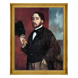 """Edgar Degas-18""""x24"""" Framed Canvas - 18"""" x 24"""" Edgar Degas Self Portrait Saluting framed premium canvas print reproduced to meet museum quality standards. Our museum quality canvas prints are produced using high-precision print technology for a more accurate reproduction printed on high quality canvas with fade-resistant, archival inks. Our progressive business model allows us to offer works of art to you at the best wholesale pricing, significantly less than art gallery prices, affordable to all. This artwork is hand stretched onto wooden stretcher bars, then mounted into our 3"""" wide gold finish frame with black panel by one of our expert framers. Our framed canvas print comes with hardware, ready to hang on your wall.  We present a comprehensive collection of exceptional canvas art reproductions by Edgar Degas."""