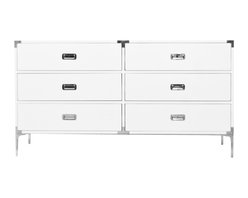 """Jet Setter Dresser - The Jet Setter Dresser shows just what a seasoned traveler you really are. With fixtures reminiscent of steamer trunks and luxurious trips abroad, this vintage inspired piece will give you a serious case of wanderlust. Finished in White Gloss Lacquer, custom chrome hardware and 7"""" chrome legs."""