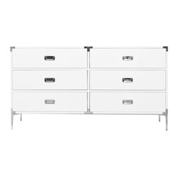 "Jet Setter Dresser - The Jet Setter Dresser shows just what a seasoned traveler you really are. With fixtures reminiscent of steamer trunks and luxurious trips abroad, this vintage inspired piece will give you a serious case of wanderlust. Finished in White Gloss Lacquer, custom chrome hardware and 7"" chrome legs."