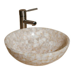 """The Allstone Group - L-VMR-T-16W Polished #4 Vessel Sink - Natural stone strikes a balance between beauty and function. Each design is hand-hewn from 100% natural stone.  Allstone mosaic vessel sinks are our only product that is not carved from one single piece of stone.  Onyx was used in Egypt as early as the Second Dynasty to make bowls and other pottery items. Onyx is also mentioned in the Bible at various points, such as in Genesis 2:12 """"and the gold of that land is good: there is bdellium and the onyx stone"""", and such as the priests' garments and the foundation of the city of Heaven in Revelation."""