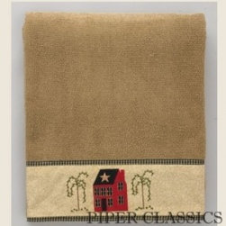Home Place Hand Towel - Home Place Coordinates by Park Design combine the warm colors of country red, black and sand accented with a mini-plaid.